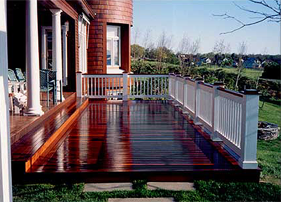 Custom Built Vermont Deck with Pau Lope IPE Hardwood Decking and custom DC railing