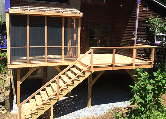 Custom Built Screened Porch, Deck and Stair Case in Vermont