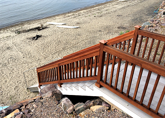 Custom built stair case for lake access to Lake Champlain in Burlington, VT